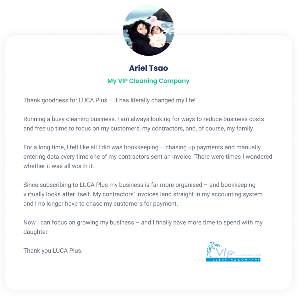 Testimonial of cleaning business who reduced costs and saved time with LUCA Plus e-invoicing.